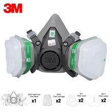 3M 6200 Half Gezicht Gasmasker Masker Met 2Pcs Ammoniak Methylamine Vapor 6004 Filter Cartridge Filter Katoen Filter cover