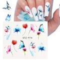 Наклейки с бабочками для маникюра, слайдеры с цветочными листами, Переводные переводные наклейки, клейкие обертывания, украшения для ногте...