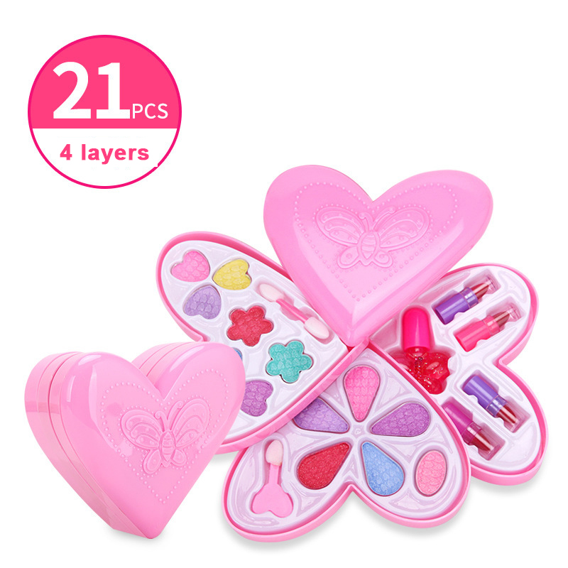 Kid Makeup Box Set Toys Love Shape Dressing Cosmetics Girls Toy Plastic Safety Beauty Pretend Play Children Makeup Games Gift