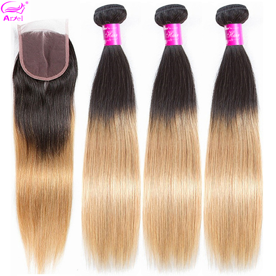 ARIEL Pre-Colored Ombre Brazilian Hair 3 Bundles With Closure 1B/27 Straight Hair Bundles Remy Human Hair Bundles With Closure