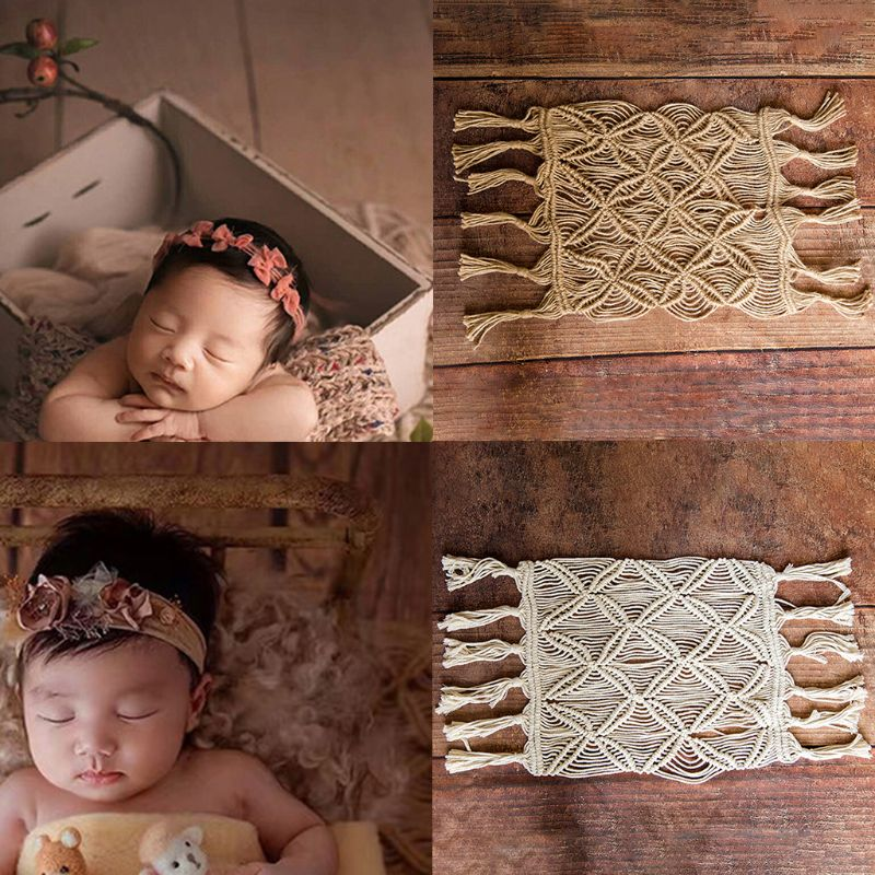 Hemp Rope Cotton Rope Handmade Woven Tassel Mat Blanket Bohemia Blanket Baby Photo Mat Newborn Photography Props