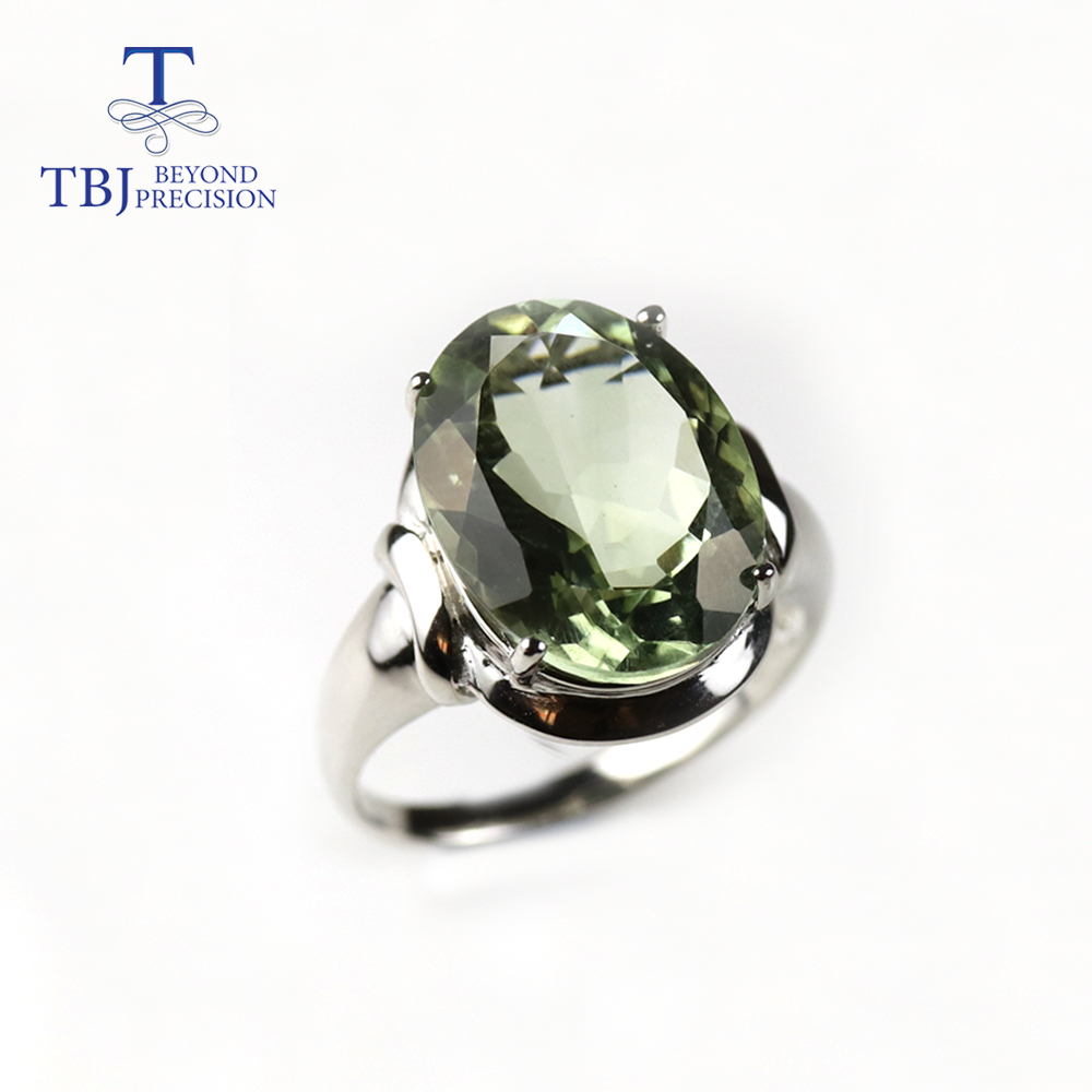TBJ,10ct natural green amethyst gemstone big ring,natural brazil gemstone jewelry 925 sterling silver fine jewelry for women