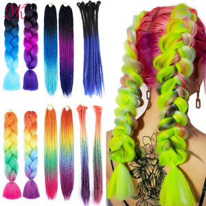 Braiding Hair Hair-Extension Crochet Colorful Pink Black Ombre Red