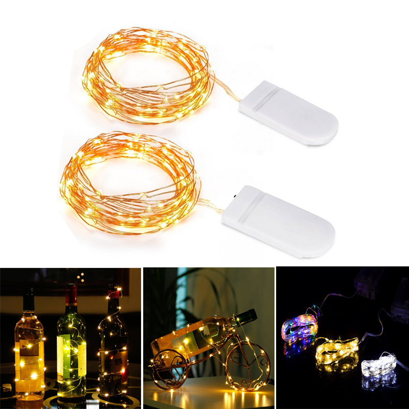 LED String Light Silver Wire Fairy Warm White Garland Home Christmas Wedding Party Decoration Powered By Battery Batter