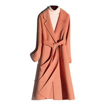 Hot Sale Double-Sided Woolen Coat Brand Outerwear High-end Wool jacket Autumn Winter Big Collar With Belt Elegant Solid Coat(China)