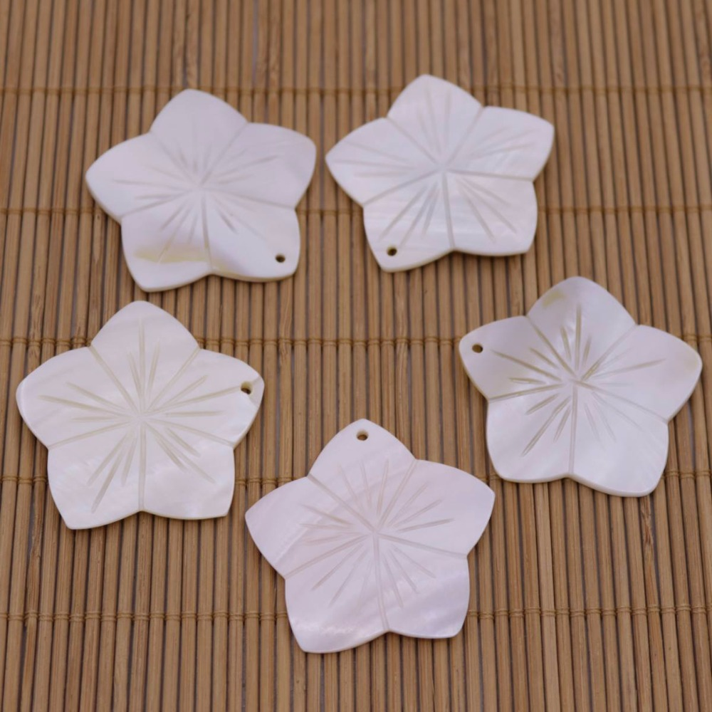 Купить с кэшбэком 5 PCS 40mm petals flower shell Natural White Mother of Pearl Jewelry Making DIY