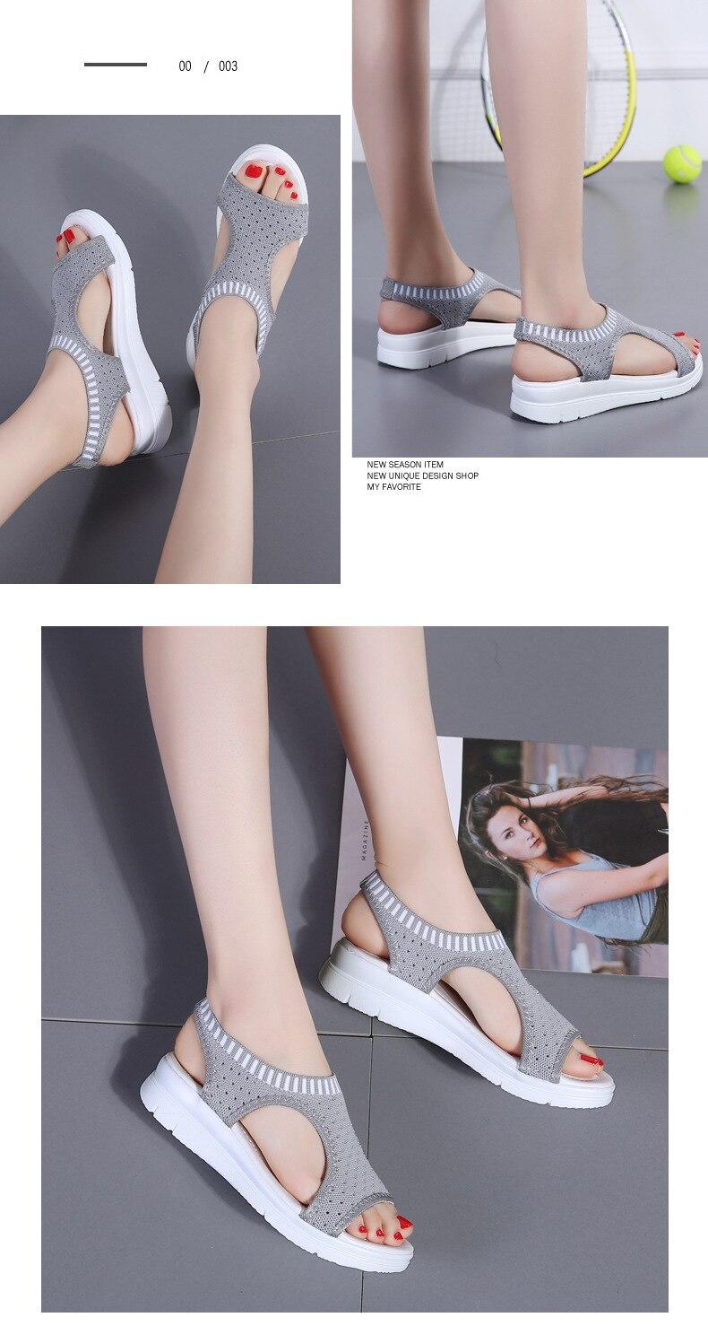 He2d160c573dc420782076aa6b801d9e8m WDZKN 2019 Sandals Women Summer Shoes Peep Toe Casual Flat Sandals Ladies Breathable Air Mesh Women Platform Sandals Sandalias
