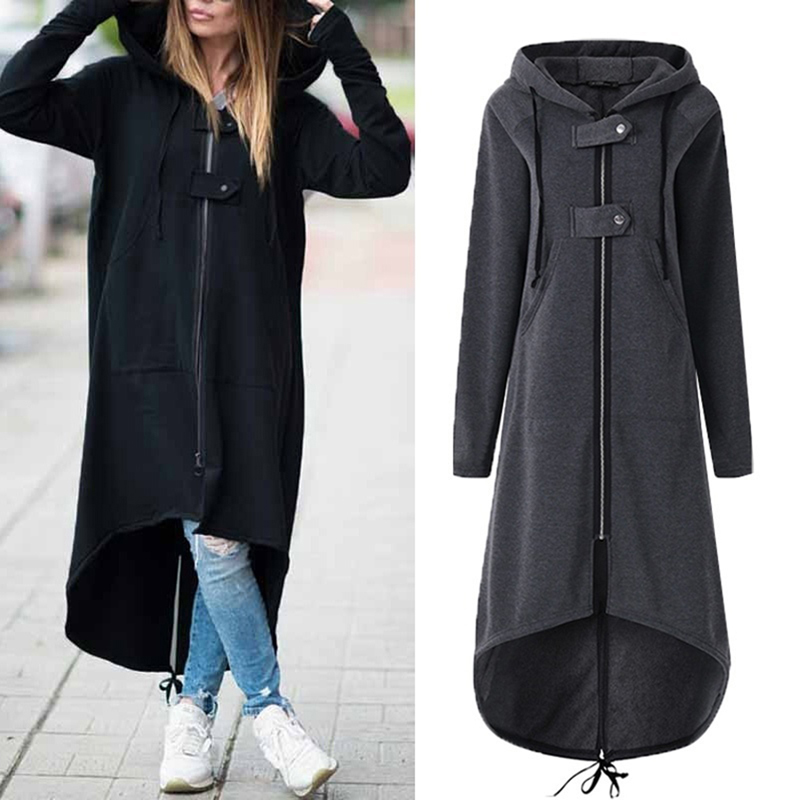 2019 Autumn Winter Women Trench  Fashion Hooded Zipper Long Trench  Fleece Women Causal Solid Irregular Pocket Long Trench
