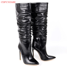 Sexy Stiletto Pleated Knee High Boots Women Autumn Winter Super High Heels Long Boots Ladies Popular Party Shoes Black White