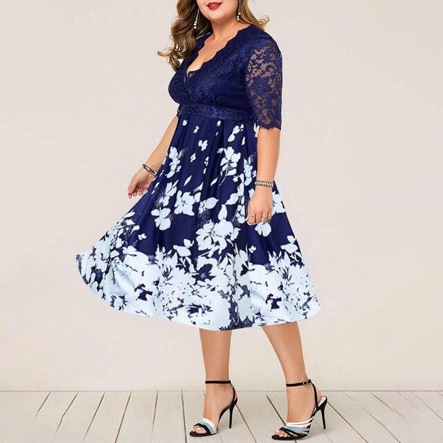 Plus Size Women Summer Dress Patchwork Flower Large Size Evening Party Lady Midi Dress Sexy Lace Calf Elegant Female Dress D25 2