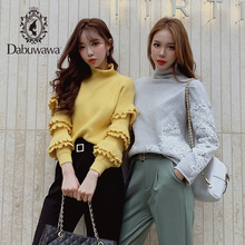 Dabuwawa Winter Fashion Butterfly Sleeve Sweater New Ruffled Turtleneck Knitted Pullover Casual Elegant Tops D17DKT002