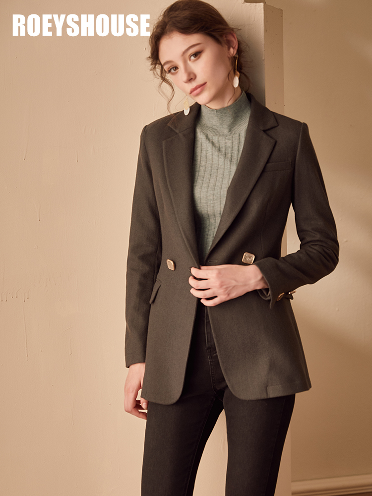 Luo Yi intellectual professional suit woolen jacket female winter clothes new temperament army green slim fit OL suit
