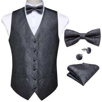 New Teal Green Paisley 100% Silk Formal Dress Vest Men Waistcoat Vest Wedding Party Vest Tie Brooch Pocket Square Set DiBanGu 8