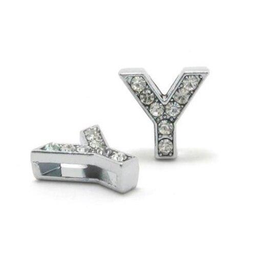 A-Z, 8 мм, стразы, кулон, буквы, подходят для DIY, подарок, шарм, кожаный браслет, браслет, пояс, ожерелье, ювелирные аксессуары - Окраска металла: Y