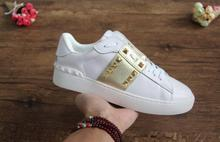 Designer Fashion Casual Shoes High Quality Brand Men Women Sneaker Couple style Patchwork rivet Genuine Leather shoes