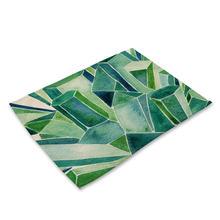 Коврик из хлопка и льна коврик для чашек зеленый тропический