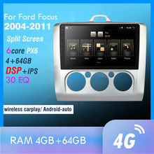 PX6 Android 10.0 DSP Car Radio For Ford Focus 2004 2011 Multimedia Video Player Navigation GPS wifi 4G HDMI OBD