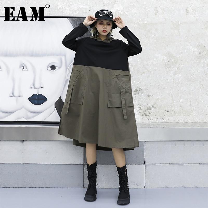 [EAM] Women Pocket Spliced Big Hem Oversize Pleated Dress New Hooded Long Sleeve Loose Fit Fashion Tide Spring Autumn 2019 1A203