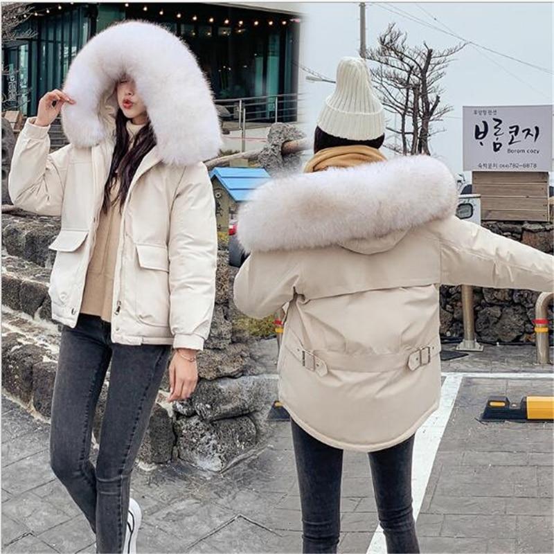 New Winter Jacket Women Short   Parkas   mujer 2019 Female Down Jacket Hooded Large Fur Collar Winter Coats Slim Winter Coats Q954
