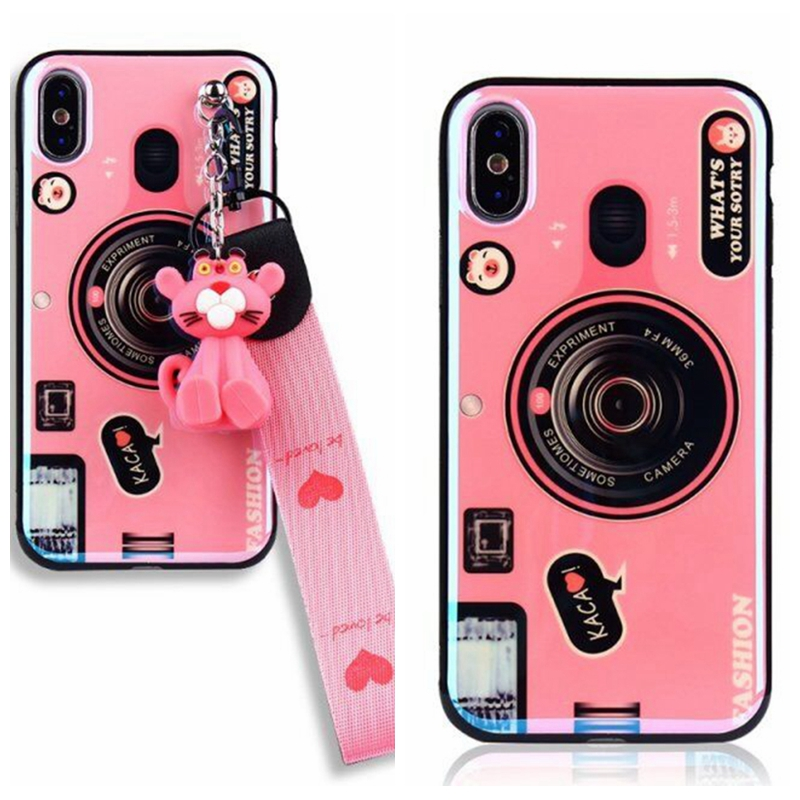 Phone <font><b>Case</b></font> for <font><b>Huawei</b></font> Y6 Y7 Y6pro <font><b>Y9</b></font> Y7pro <font><b>2019</b></font> 2018 Y5 Y6 Y7 2017 Y7prime Psmart Blu-ray Plated Camera with Lanyard Phone <font><b>Case</b></font> image