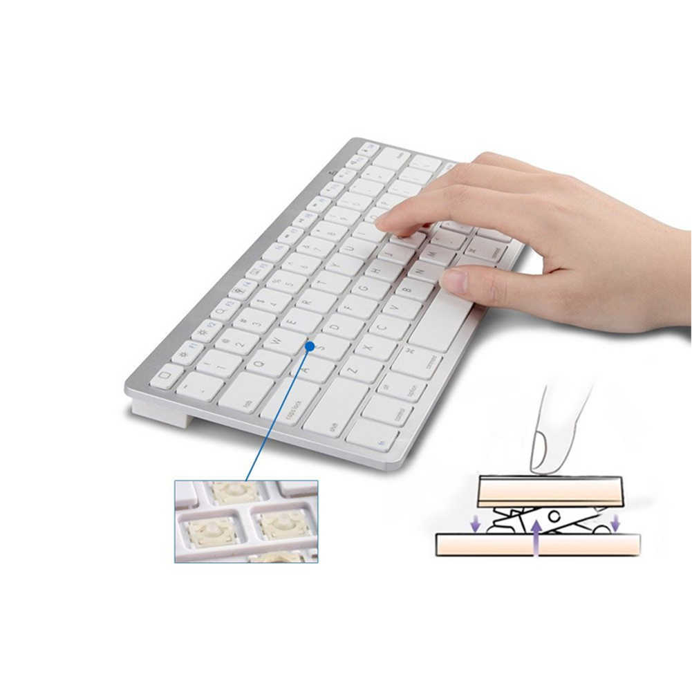 超スリム防水ワイヤレスキーボード Bluetooth 3.0 アップルシリーズ/ブック/スマートフォン/PC コンピュータ黒/白 #828