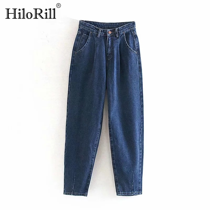 Jeans Woman 2020 Loose Casual Harem Pants Boyfriends Mom Jeans Streetwear Denim Pants Women Pleated Pocket Trousers Jean Femme