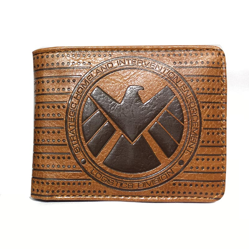 Wholesale Embossed Leather Purse Agents Of SHIELD Wallet Bi-fold Short Wallets With Id Card Holder Slot Zipper Coin Pocket