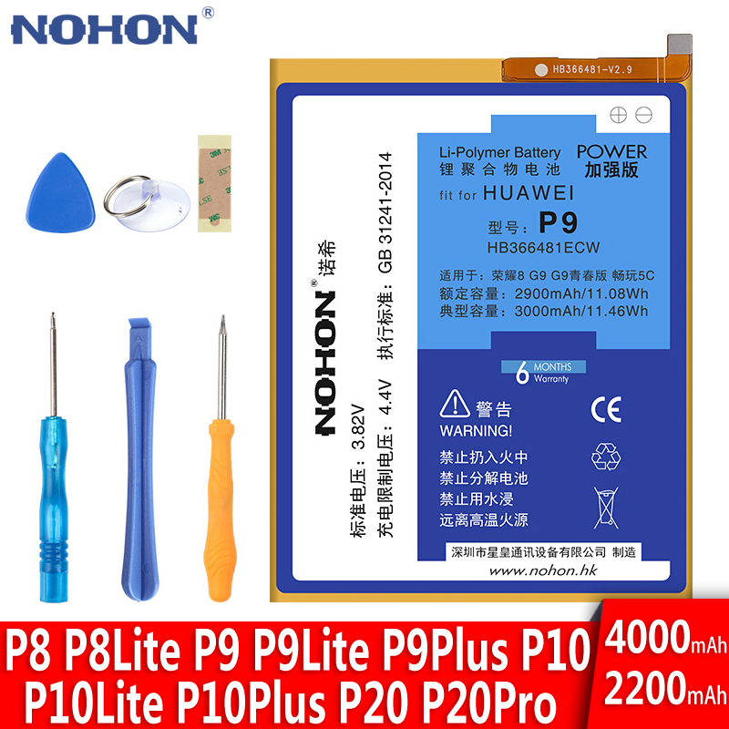 NOHON Battery For <font><b>Huawei</b></font> P9 Plus P8 Lite <font><b>P10</b></font> Plus P20 Pro Honor 9 10 Mate 10 V10 HB366481ECW Replacement Lithium Polymer <font><b>Bateria</b></font> image