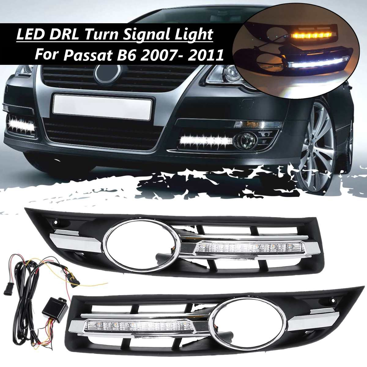 Car LED DRL Light Daytime Running Light with Grill Surround for VW Passat B6 2006 2011 Waterproof|Racing Grills| |  - title=