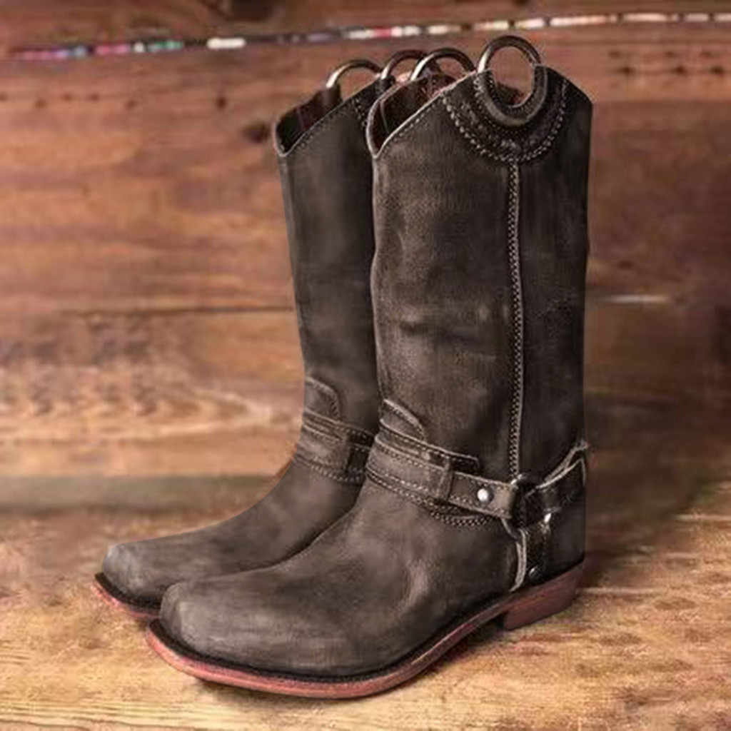 Retro Women Ladies Mid Wide Calf Cowgirl Cowboy Boots Western Style Casual Shoes