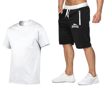 2020 summer men hot new print t-shirt + shorts casual suit men sports Lonsdale running explosions casual sportswear sets цена 2017