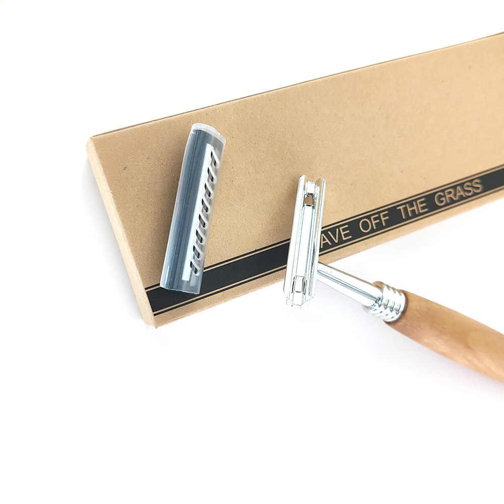 Navaja de madera reutilizable ecológica, cuchilla de afeitar no desechable de acero inoxidable, cuchilla intercambiable con cabezal retro, cuchilla para afeitar a hombres