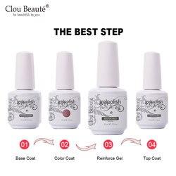 Clou Beaute 15ml Base Top Coat Nail Polish Reinforce Gel Varnishes Manicure Nail Art Soak Off UV Shiny Reinforcement Gel Primer