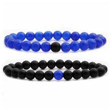 Трендовые Парные браслеты 8 мм матовый черный синий камень бусы