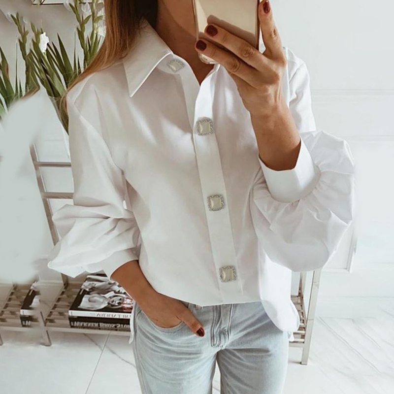 Office Women Blouse 2019 Fashion Fall Long Lantern Sleeve Elegant Shirts Korean Work Tops Female Clothing White Shirt Women Tops