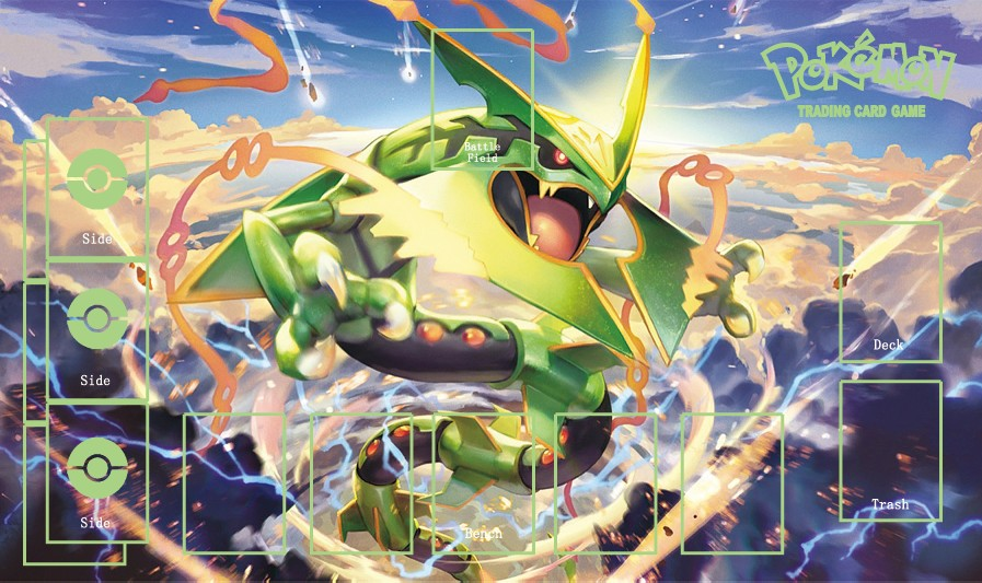 Takara Tomy PTCG Accessories Pokemon Card Board Game Playmat Rayquaza Toys For Children