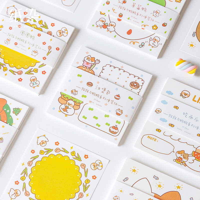 30 Sheets/pack Cute Meow Cat And Duck Memo Pads Planner Paper Notepad Student Stationery School Office Supply Kids Gift