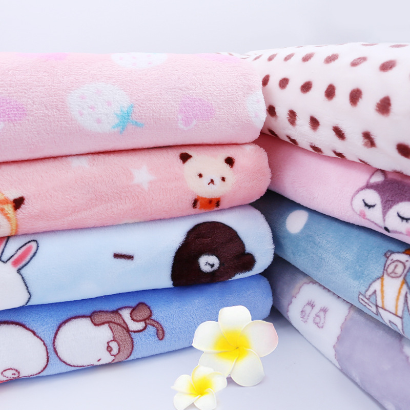 Cotton Fabric  Baby Cloth Rong Fabric Autumn Flannel Plush Velvet Casual 100% Polyester Double-sided Blanket Pajamas Clothing