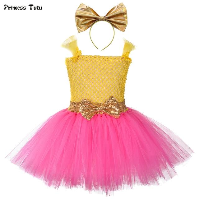 Princess Girls Lol Tutu Dress with Headband Cute Girl Birthday Party Dresses Kids Carnival Halloween Lol Dolls Cosplay Costume