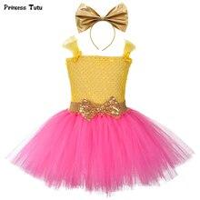 Prinzessin Mädchen Lol Tutu Kleid mit Stirnband Nette Mädchen Geburtstag Party Kleider Kinder Karneval Halloween Lol Puppen Cosplay Kostüm