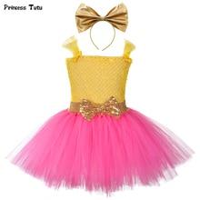 Vestido de princesa Lol para niña, tutú con diadema, vestidos para fiesta de cumpleaños para niña, disfraz de Cosplay para Halloween, Lol