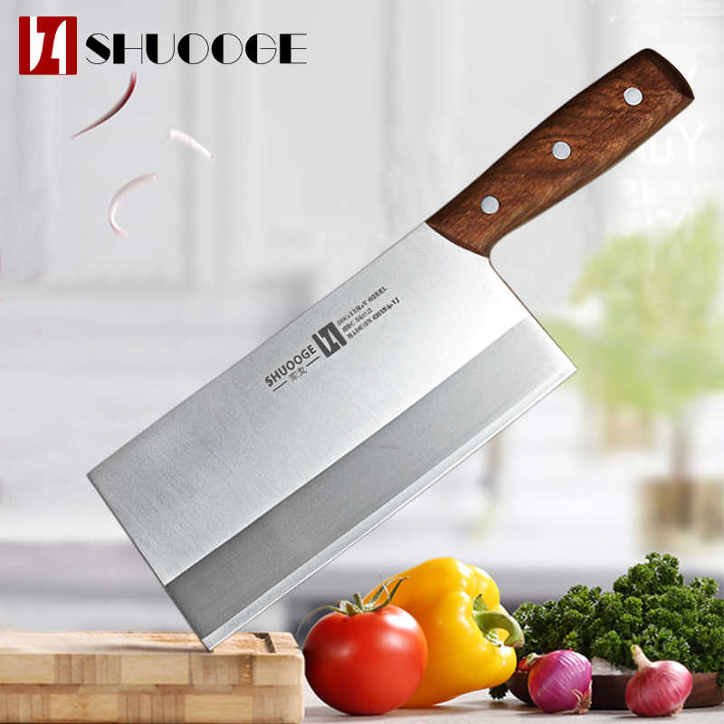 SHUOOGE 8 inch Stainless Steel Cleaver Butcher Knife Pro Kitchen Knife Wood Handle Chopping Knife Kitchen Cooking Chef Knife