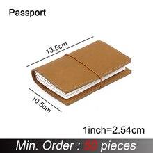 50 peças/lote passaporte 130x105mm caderno de couro genuíno diário viagem artesanal com titular do cartão diário sketchbook planejador