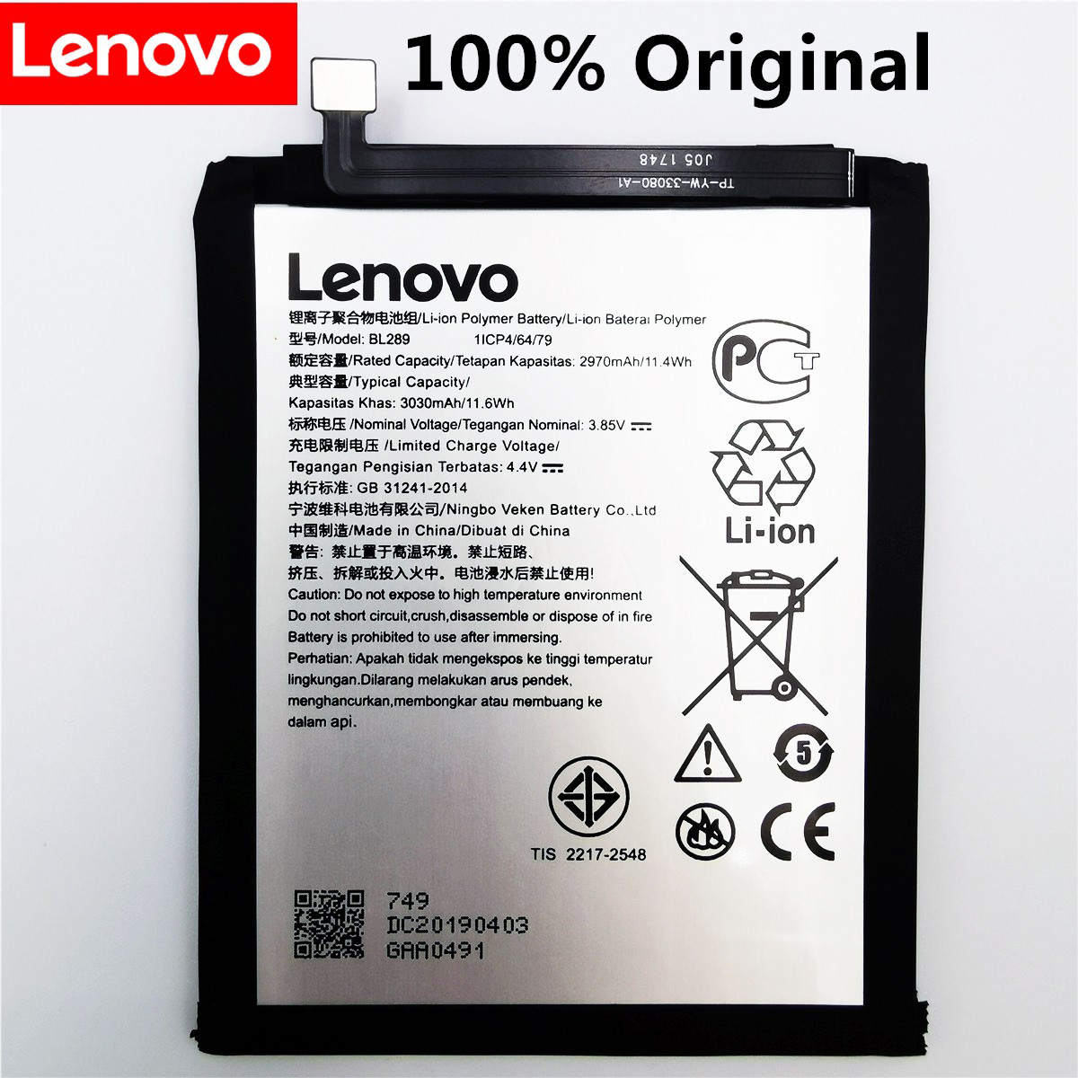 100% Original New For Lenovo K5 Play BL289 3030mAh Battery High Quality Battery Batteries