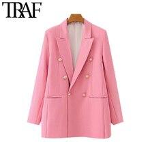 TRAF Women Fashion Office Wear Double Breasted Blazers Coat