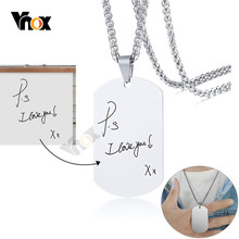 Vnox Uomini Personalizza Scrittura A Mano Collane Dog Tag In Acciaio Inox Minimalista Ciondolo Personalizzato Esercito ID BFF Regali Dei Monili