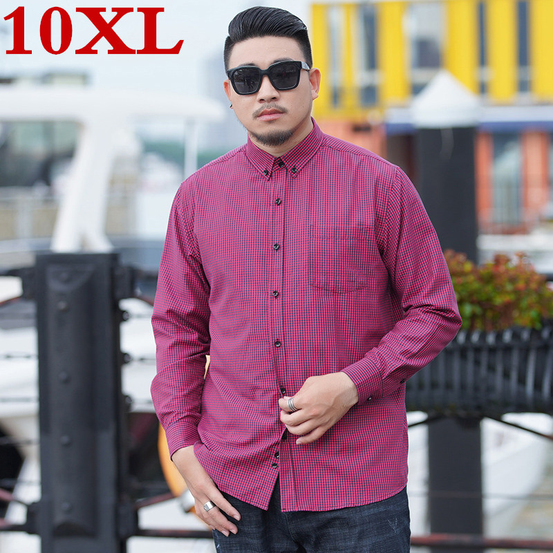 10XL 9X Men Plaid Shirt 100% Cotton 2020 Spring Autumn Casual Long Sleeve Shirt Soft Comfort Slim Fit Styles Brand Man Plus Size