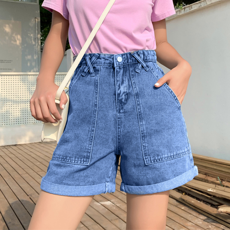 [Big Sale] High Waist Denim <font><b>Shorts</b></font> Female Chic Hot Trouser Wide Legs Loose Casual Summer <font><b>Sexy</b></font> <font><b>Shorts</b></font> Plus Size Big Pocket <font><b>Short</b></font> image