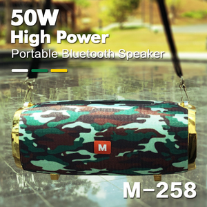 50W wireless bluetooth speaker outdoor portable subwoofer 3D stereo speaker 4000mAh music center, battery 48 hours FM/AUX/TF