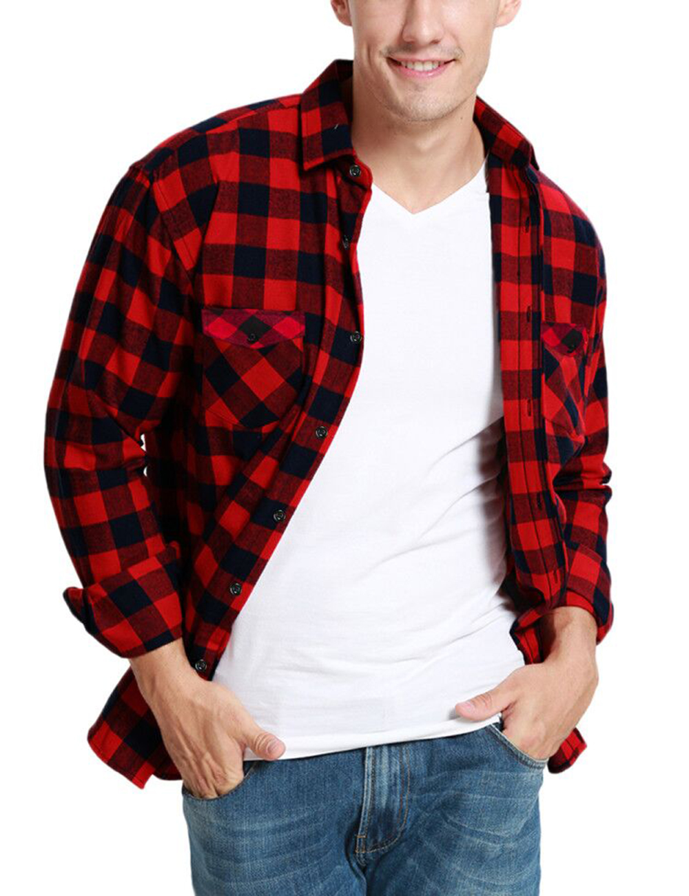 Dioufond Mens Pocket Flannel Plaid Cotton Shirt Long Sleeve Checkered Casual Slim Fit Black Warm Autumn Winter Shirts New 1
